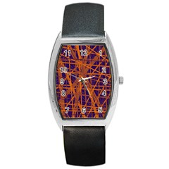 Blue and orange pattern Barrel Style Metal Watch