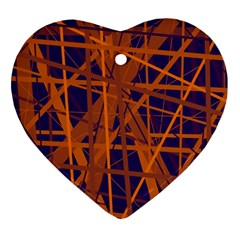 Blue and orange pattern Heart Ornament (2 Sides)