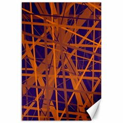 Blue and orange pattern Canvas 24  x 36
