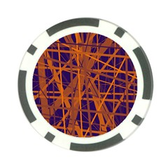 Blue and orange pattern Poker Chip Card Guards