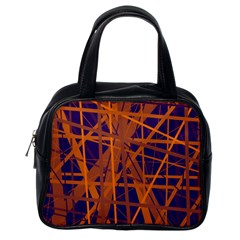 Blue and orange pattern Classic Handbags (One Side)