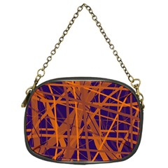 Blue and orange pattern Chain Purses (One Side)