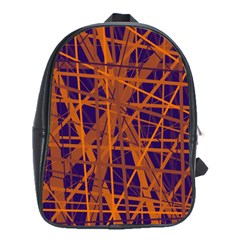 Blue and orange pattern School Bags(Large)
