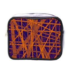 Blue and orange pattern Mini Toiletries Bags