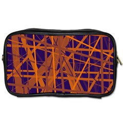 Blue and orange pattern Toiletries Bags 2-Side
