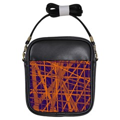 Blue and orange pattern Girls Sling Bags