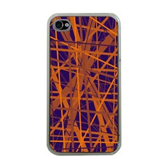 Blue and orange pattern Apple iPhone 4 Case (Clear)