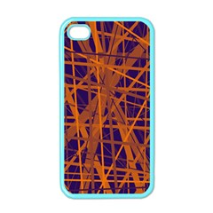 Blue and orange pattern Apple iPhone 4 Case (Color)