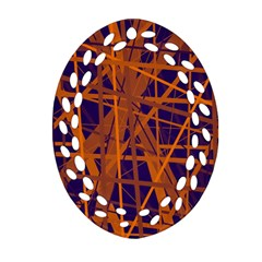 Blue and orange pattern Ornament (Oval Filigree)