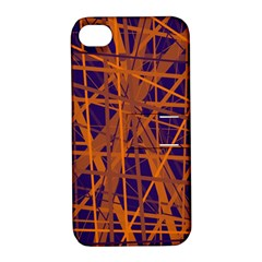 Blue and orange pattern Apple iPhone 4/4S Hardshell Case with Stand