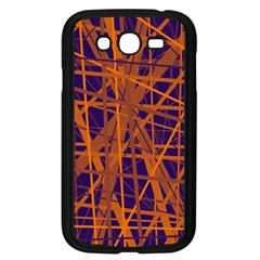 Blue and orange pattern Samsung Galaxy Grand DUOS I9082 Case (Black)