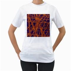 Blue and orange pattern Women s T-Shirt (White)