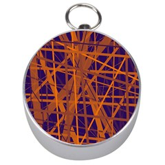 Blue and orange pattern Silver Compasses