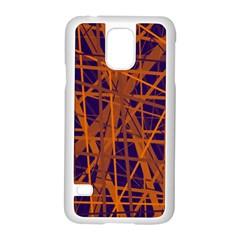 Blue and orange pattern Samsung Galaxy S5 Case (White)
