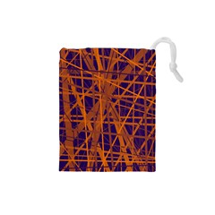 Blue and orange pattern Drawstring Pouches (Small)