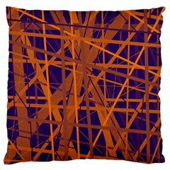 Blue and orange pattern Standard Flano Cushion Case (Two Sides)