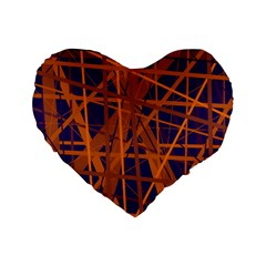 Blue and orange pattern Standard 16  Premium Flano Heart Shape Cushions
