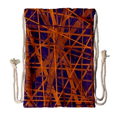 Blue and orange pattern Drawstring Bag (Large)
