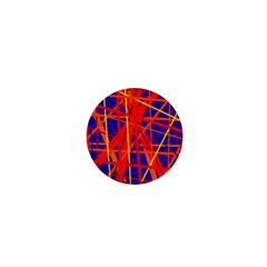 Orange and blue pattern 1  Mini Buttons