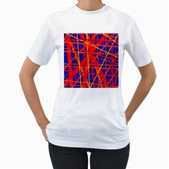 Orange and blue pattern Women s T-Shirt (White) (Two Sided)
