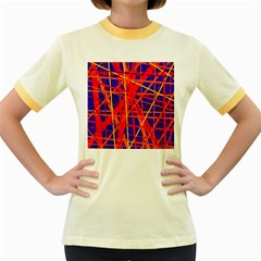 Orange and blue pattern Women s Fitted Ringer T-Shirts