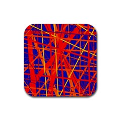 Orange and blue pattern Rubber Coaster (Square)
