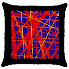 Orange and blue pattern Throw Pillow Case (Black)