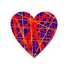 Orange and blue pattern Heart Magnet