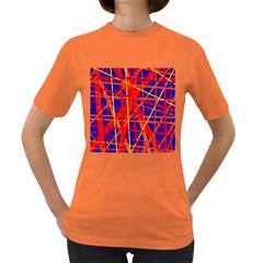 Orange and blue pattern Women s Dark T-Shirt
