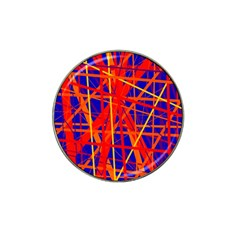 Orange and blue pattern Hat Clip Ball Marker (4 pack)