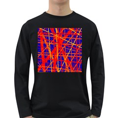 Orange and blue pattern Long Sleeve Dark T-Shirts