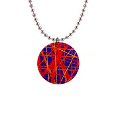 Orange and blue pattern Button Necklaces