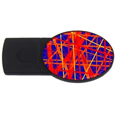 Orange and blue pattern USB Flash Drive Oval (4 GB)