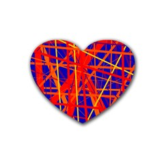 Orange and blue pattern Heart Coaster (4 pack)