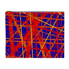 Orange and blue pattern Cosmetic Bag (XL)