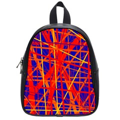 Orange and blue pattern School Bags (Small)