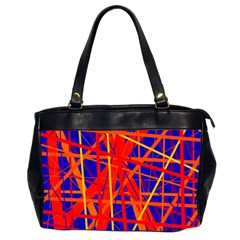 Orange and blue pattern Office Handbags (2 Sides)