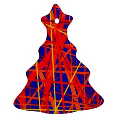 Orange and blue pattern Christmas Tree Ornament (2 Sides)