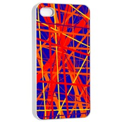 Orange and blue pattern Apple iPhone 4/4s Seamless Case (White)