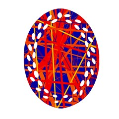 Orange and blue pattern Oval Filigree Ornament (2-Side)