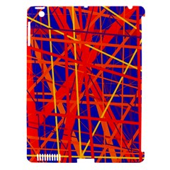 Orange and blue pattern Apple iPad 3/4 Hardshell Case (Compatible with Smart Cover)