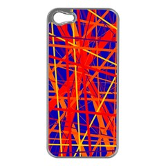 Orange And Blue Pattern Apple Iphone 5 Case (silver)