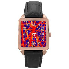 Orange and blue pattern Rose Gold Leather Watch