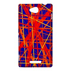 Orange and blue pattern Sony Xperia C (S39H)