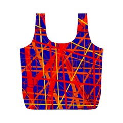 Orange and blue pattern Full Print Recycle Bags (M)