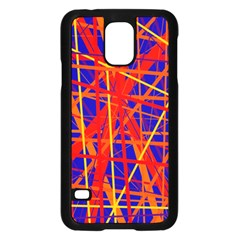 Orange and blue pattern Samsung Galaxy S5 Case (Black)
