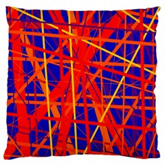 Orange and blue pattern Large Flano Cushion Case (One Side)