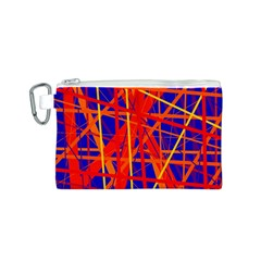 Orange and blue pattern Canvas Cosmetic Bag (S)