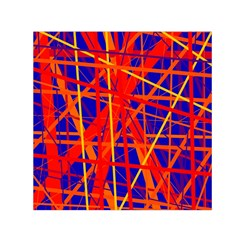 Orange and blue pattern Small Satin Scarf (Square)