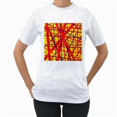 Yellow and orange pattern Women s T-Shirt (White) (Two Sided)